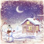Ilustración del paisaje invernal con muñeco de nieve — Foto de Stock