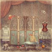 复古道具和在房间里,时尚的屏幕 — 图库照片