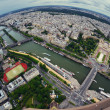 Paris center aerial view at day time, wide angle of view — Stock Photo #23653131