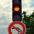 Road sign and traffic light - Stock Photo