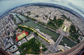 Paris center aerial view at day time, wide angle of view — Stock Photo