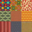 Set of nine seamless patterns. — Foto Stock