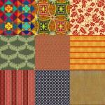 Set of nine seamless patterns. — Stock Photo