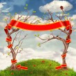 Clouds Background with Trees ,Flowers ,Hills and large Red ribbon — Stock Photo