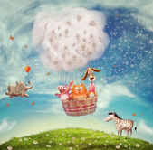 Animals in hot air ballon — Stock Photo