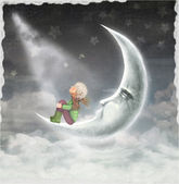 The illustration shows the boy who admires the star sky — Stock Photo