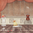 Rooms with  vintage fashion mannequins — Zdjęcie stockowe