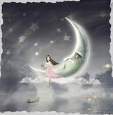 The illustration shows the girl who admires the star sky — Stok fotoğraf