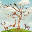 Stock Photo: Tree with animals