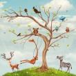 Tree with animals — Stock Photo