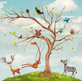 Tree with animals — Stock Photo