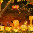 Scary Halloween Pumpkins at Night — Stock Photo