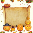 Halloween background scroll sign with foliage and carved orange  — Stok fotoğraf