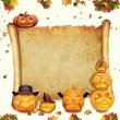 Halloween background scroll sign with foliage and carved orange — Stock Photo