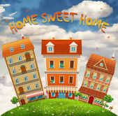 Homes and the field — Stockfoto