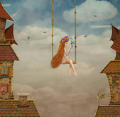 Little girl on a swing,tile Roofs with sky — Zdjęcie stockowe