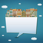 Llustration of a banner with houses — Stock Photo