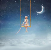 Girl on a swing — Stock Photo