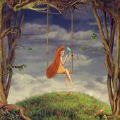 Young girl on swing — Stock Photo