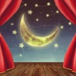 Theater stage with moon and stars — Stock Photo