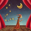 The boy collecting stars on stage — Stok fotoğraf