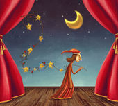 The boy collecting stars on stage — Stock Photo