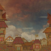 Fragment of a city .Tile Roofs with red sky — Stock Photo