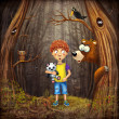 Little boy with the animals in the wood — Stock Photo