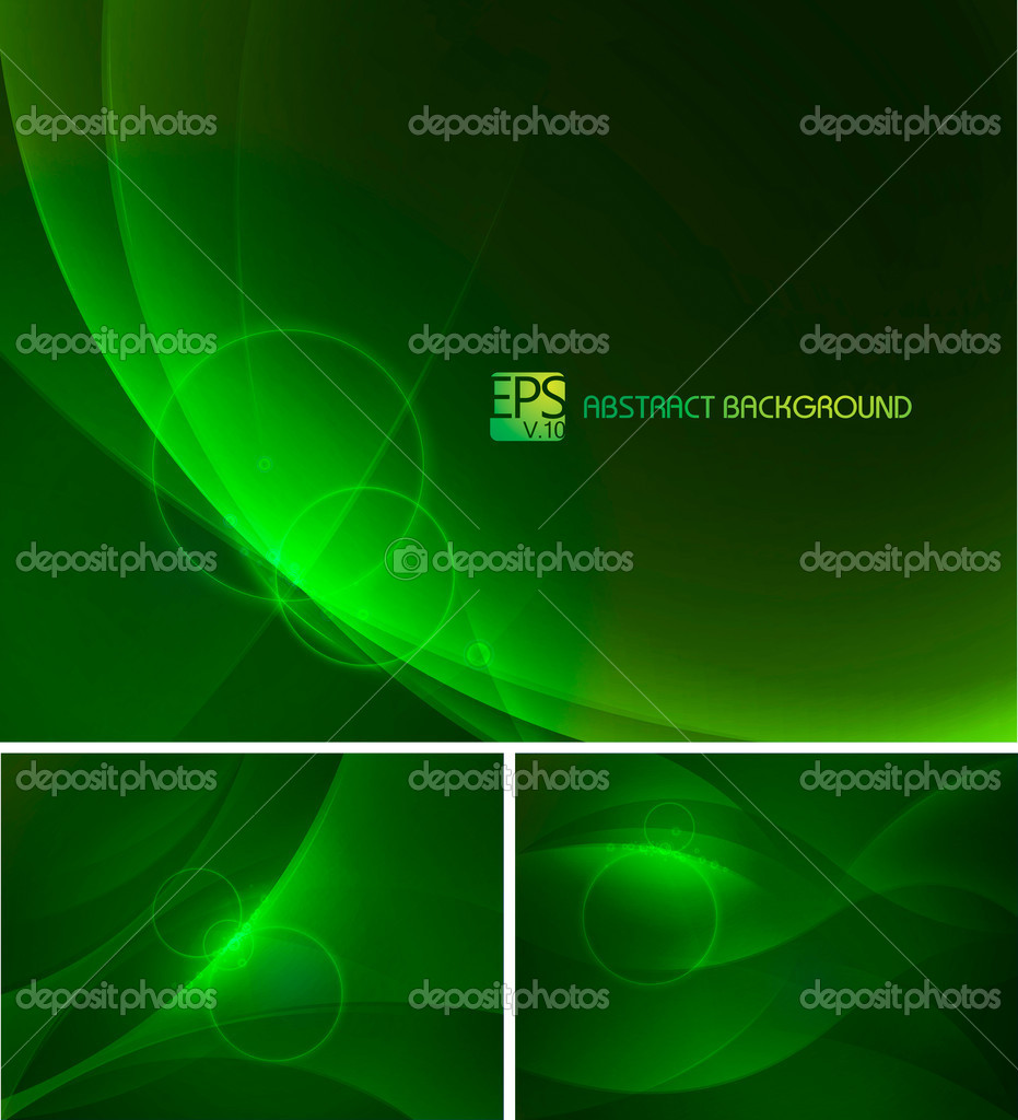 Set of green abstract background. Each background separately on different layers — Stock Vector #19665155