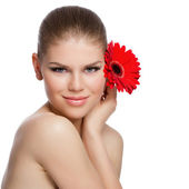 Beauty woman with flower — Stock Photo
