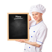 Chef woman cook with blackboard — Stock Photo
