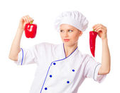 Chef woman cook — Stock Photo