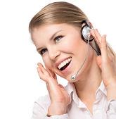 Woman Web Headset — Stock Photo