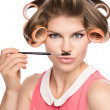 Woman in hair rollers  — Stock Photo