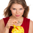 Woman with piggy bank — Stock Photo #32419907