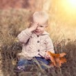 Baby with autumn leaves — Stock Photo #36543311