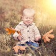 Baby with autumn leaves — Stock Photo
