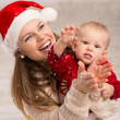 Family celebrating Christmas — Foto Stock