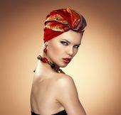 Fashion woman in turban — Stock Photo