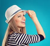 Summer girl in hat — Stock Photo