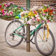 Stock Photo: Bicycle with basket of flowers