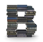 Letter B, stack of books — Stock Photo