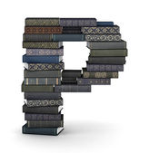 Letter P, stack of books — Stock Photo