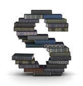 Letter S, stack of books — Stock Photo