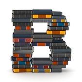 Letter B, stacked from books — Stock Photo