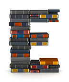 Letter E, stacked from books — Stock Photo