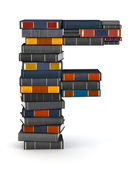 Letter F, stacked from books — Stock Photo