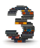 Number 3, stacked from books — Stock Photo