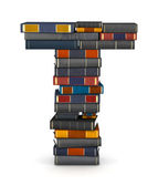 Letter T, stacked from books — Stock Photo