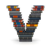 Letter V, stacked from books — Stock Photo